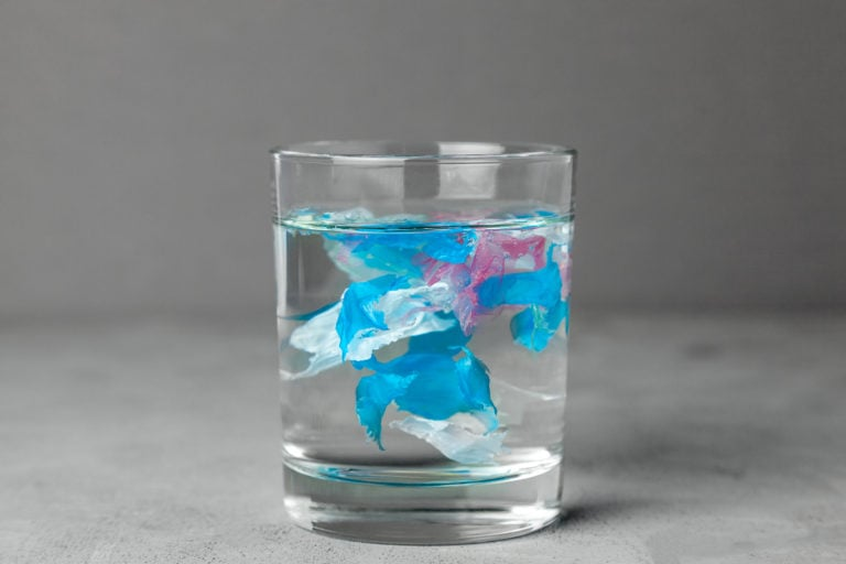 micro plastic in glass of ater
